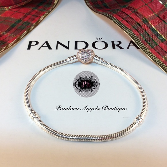 fdeccbbd4 Pandora Jewelry | New Rose Gold Pave Heart Bracelet | Poshmark
